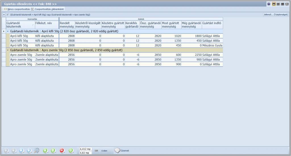 1. képernyőkép - Gyártáskövetés